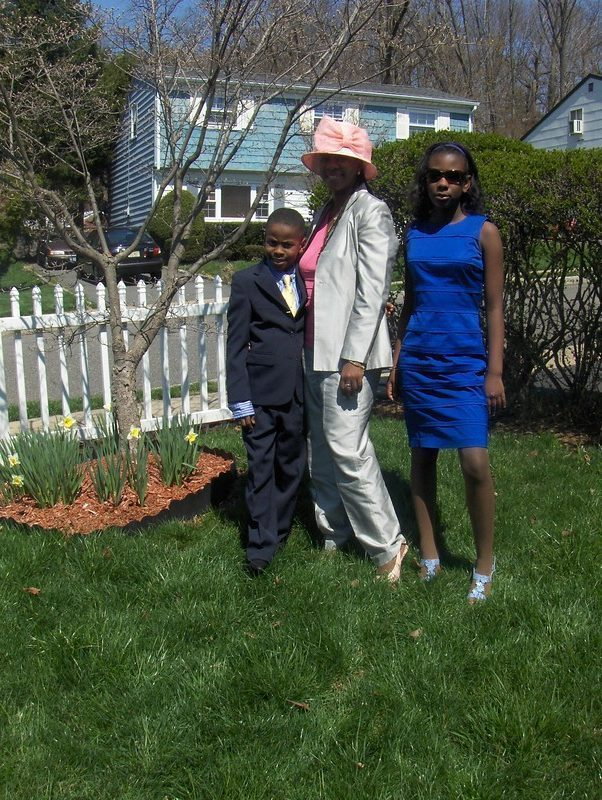 Princess in royal blue, mom in silver, the Professor, navy suit, butter yellow tie
